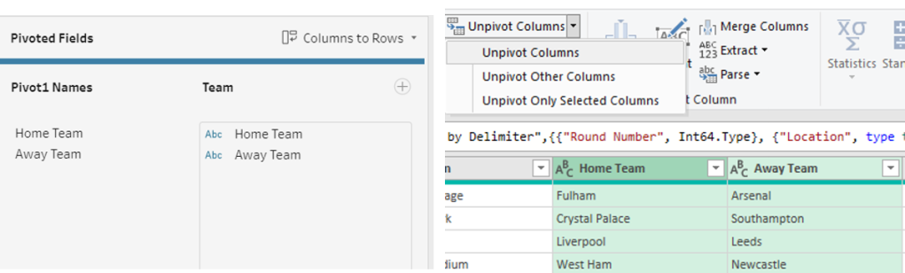 this is an example of the pivot in Tableau Prep and the unpivot in Power Query