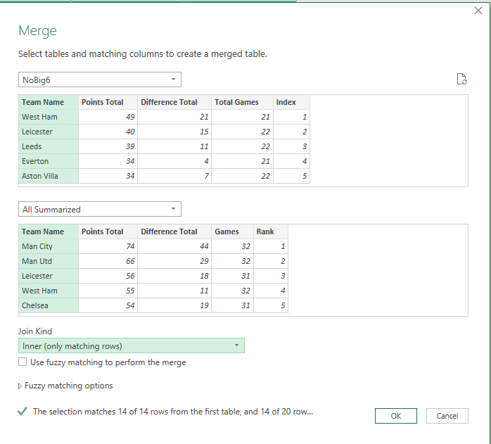example of the merge queries functionality in Power Query