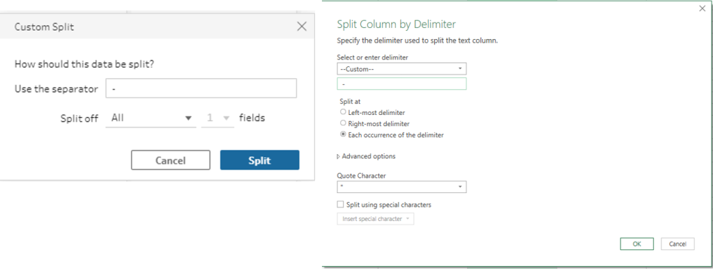this is an example of splitting a column in Tableau Prep & Power Query
